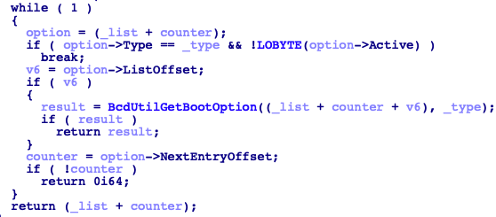 BcdUtilGetBootOption pseudocode